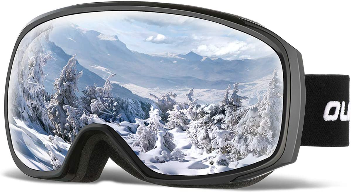 OlarHike Ski Snow Goggles for Men and Women, Anti-Fog Over Glasses Snowboard Goggles with UV Protection, Windproof Dual Lens Goggles for Skiing Skating Outdoor Sport, UV400