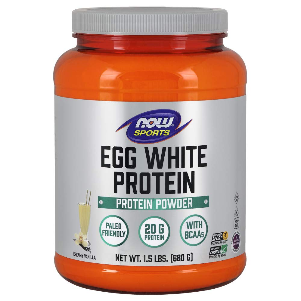 Now Sports Nutrition, Egg White Protein, Creamy Vanilla Powder, 1.5-Pound by NOW Foods