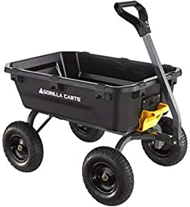 Gorilla Carts Heavy-Duty 7 Cu. Poly Dump Cart with No-Flat Tires (Amazon Exclusive)