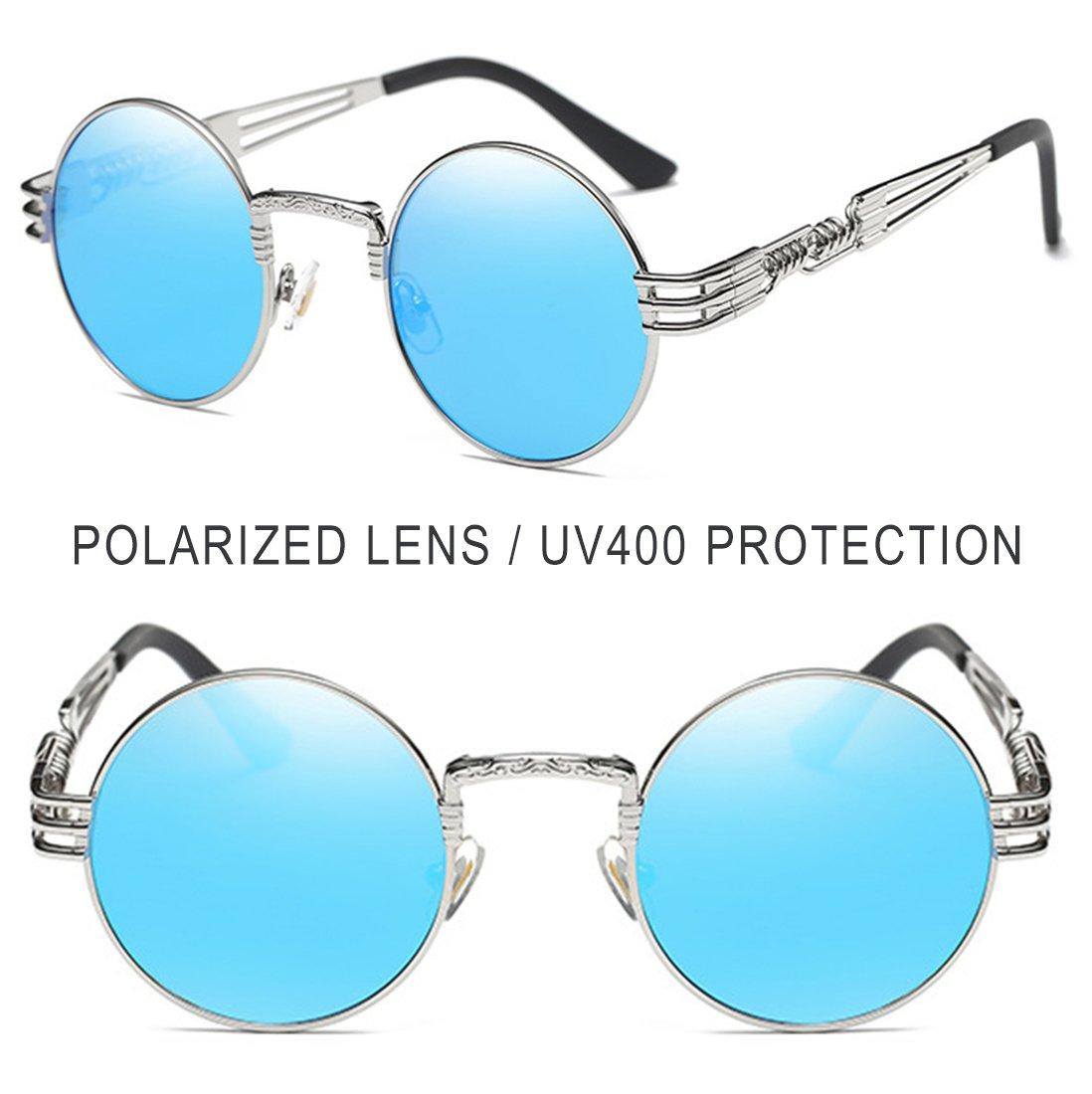 d34d6c88e5 Joopin-Round Retro Polaroid Sunglasses Driving Polarized Glasses Men  Steampunk (Blue Punk) - E4056-09   Sunglasses   Clothing