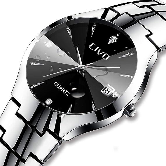 Relojes para Hombres Reloj de Acero Inoxidable Clásico de Lujo Analógico Cuarzo Fecha de Negocios Calendario