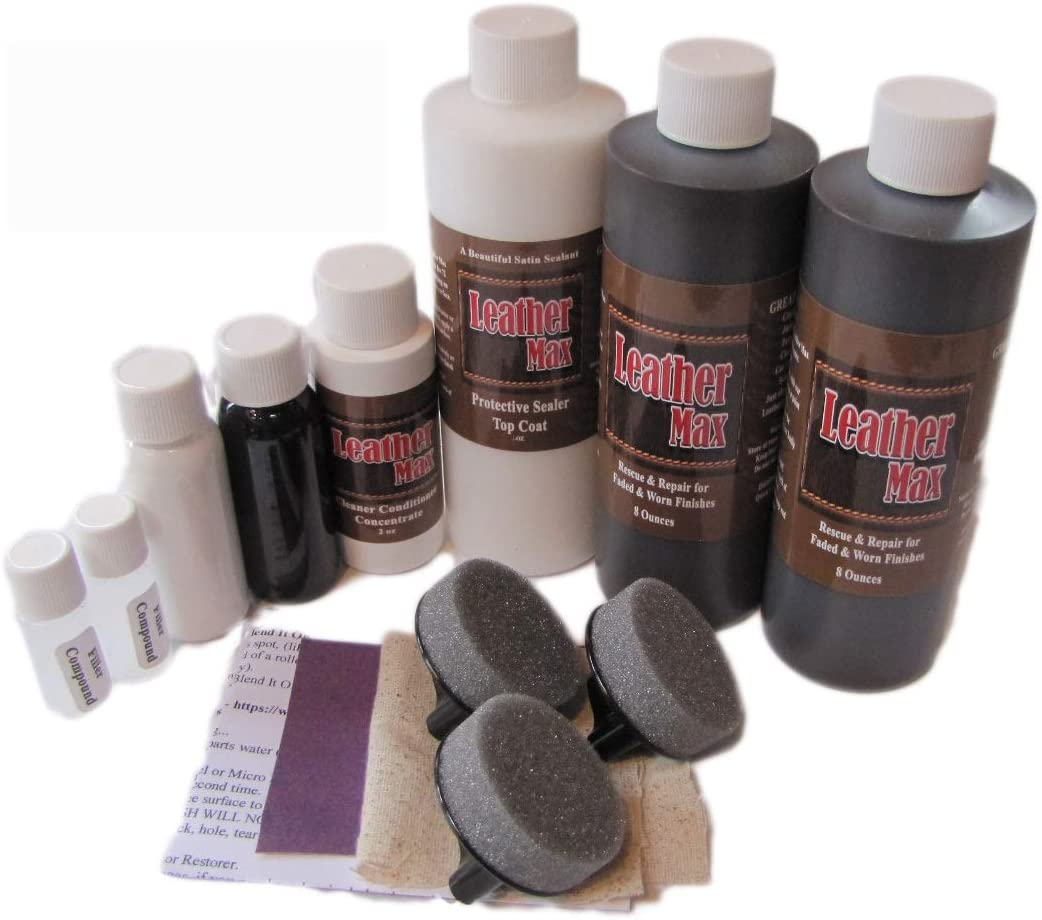 Blend It On Furniture Leather Max Complete Room/Large Sectional Kit/Leather Repair & Refinish/The Only Repair Refinish You Will Ever Need (Dark Grey)