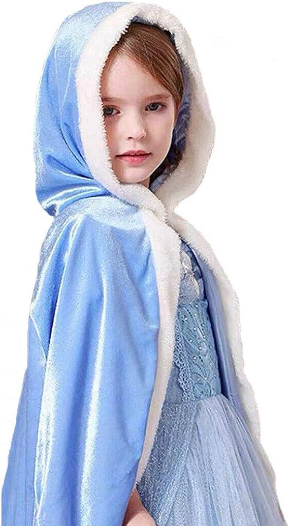 Girls Cinderella Elsa Anna Hooded Cape Cloak Snow Queen Fancy Dress Robe Cosplay