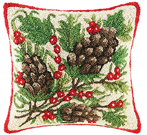 Classic Christmas Pinecone And Berries Wool Hooked Throw Pillow - By Designer Sally Eckman Roberts, 16