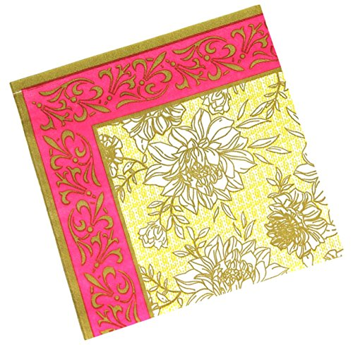 "Custom Made & Disposable {6.5"" Inch} 40 Count of 2 Ply Mid Size Square Food & Beverage Napkins, Made of Soft Absorbent Paper w/ Chrysanthemum Floral Tea Party Garden Classic Style {Red ,Black & White}"