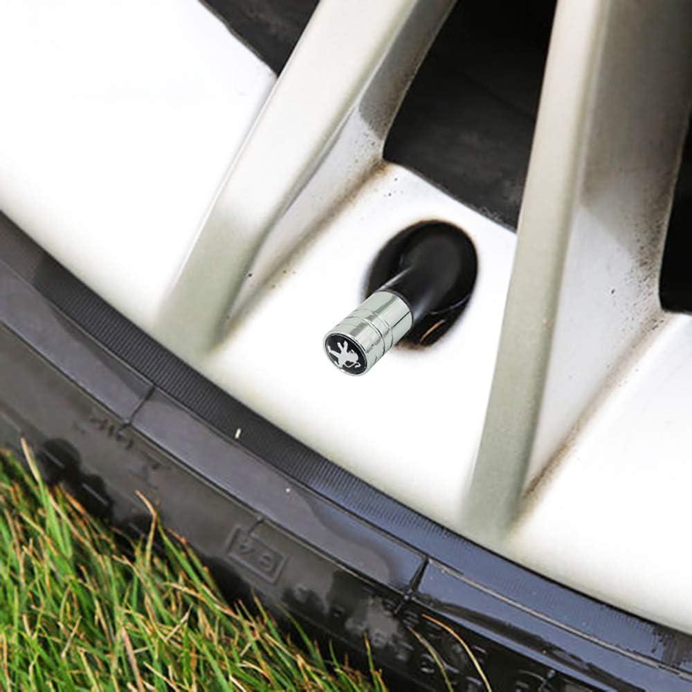 N//A 4 pcs Voiture Pneu Valve Caps Couverture de Protection en Acier Inoxydable pour Peugeot 308 408 508 RCZ 208 3008 2008