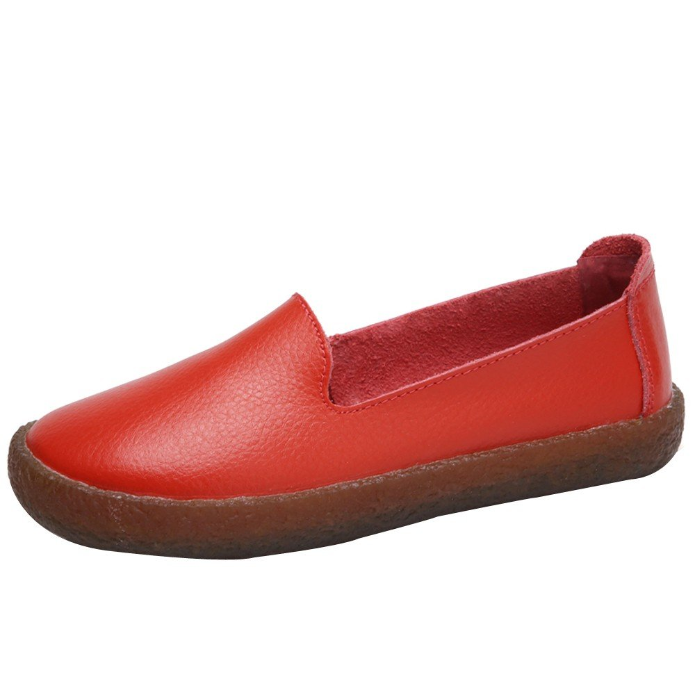 Shoes For Womens -Clearance Sale ,Farjing Women Casual Flat Round Toe Shoes Soft Running Shoes Gym Slip-on Shoes (US:6,Red)