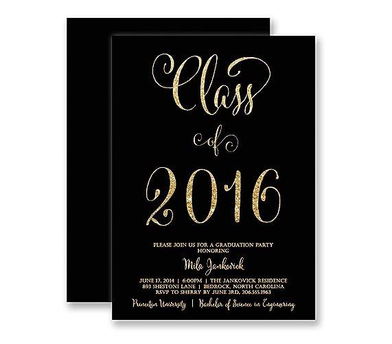 Amazon Com Graduation Invitations Black Gold Glitter Look Modern