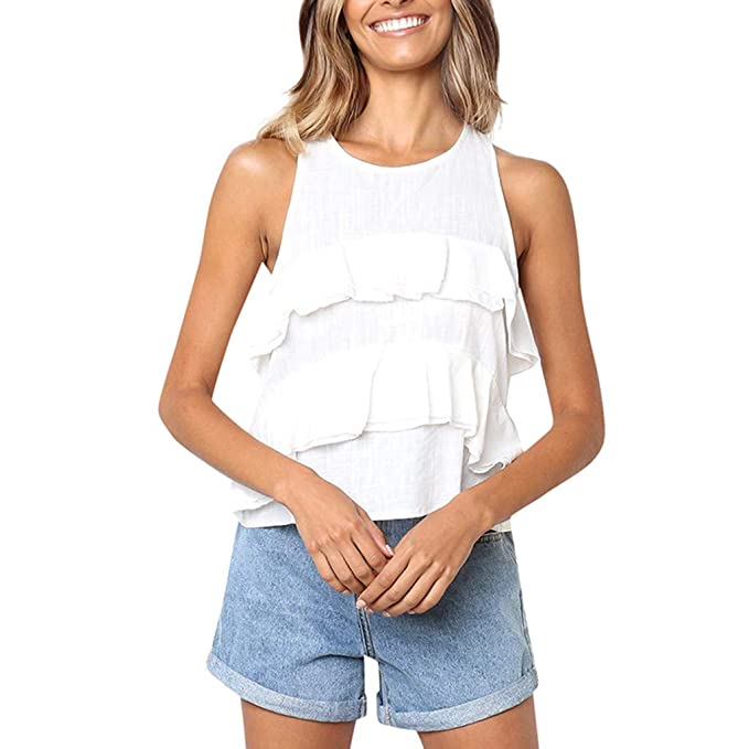 Slyar Camisetas Tirantes Mujer Encaje Sujetador De Cuello Redondo con Volantes para Mujer Camisetas Tirantes Mujer Tallas Grandes De Moda Top De Gasa Verano ...