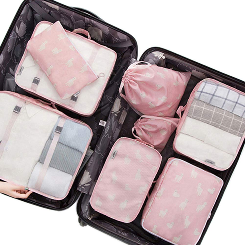 c3afae0dabd0 Belsmi 8 Set Packing Cubes - Travel Accessory With Shoe Bag Mesh Underwear  Waterproof Compression Travel Luggage Organizer With Shoes Bag (Pink ...