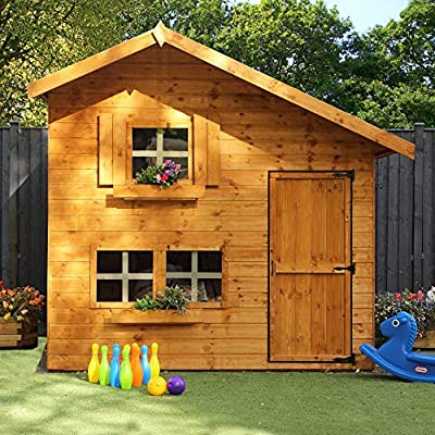 WALTONS-EST-1878-8x6-Wooden-Garden-Two-Storey-Playhouse-for-kids-Shiplap-Construction-dip-treated-with-10-Year-Anti-Rot-Guarantee-Includes-Apex-Roof-Felt-and-Floor-Safety-Styrene-Windows-8-x-6-8Ft-x-
