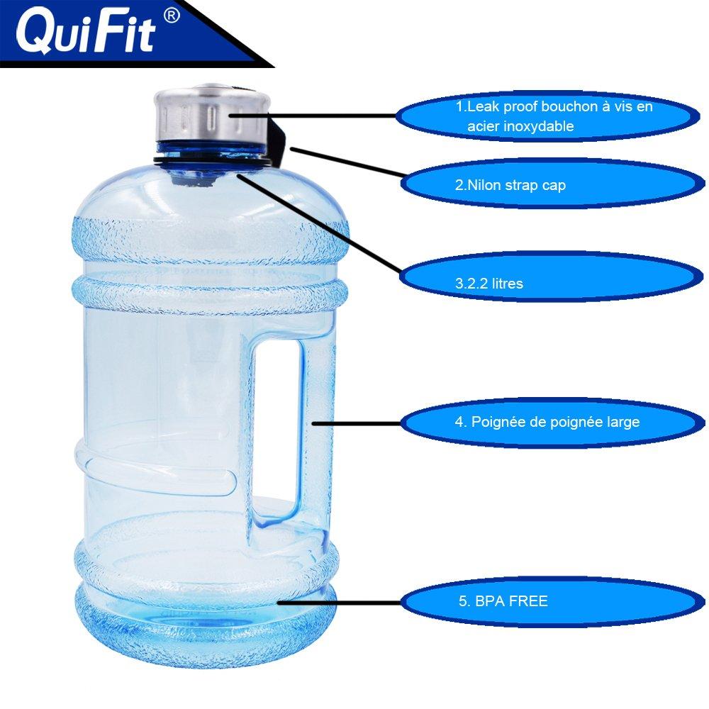 quifit botella potable de Gym Fitness de 2,2 litros sin BPA ni dhep botella potable de Sports contenedor de galón de agua, azul claro: Amazon.es: Deportes y ...
