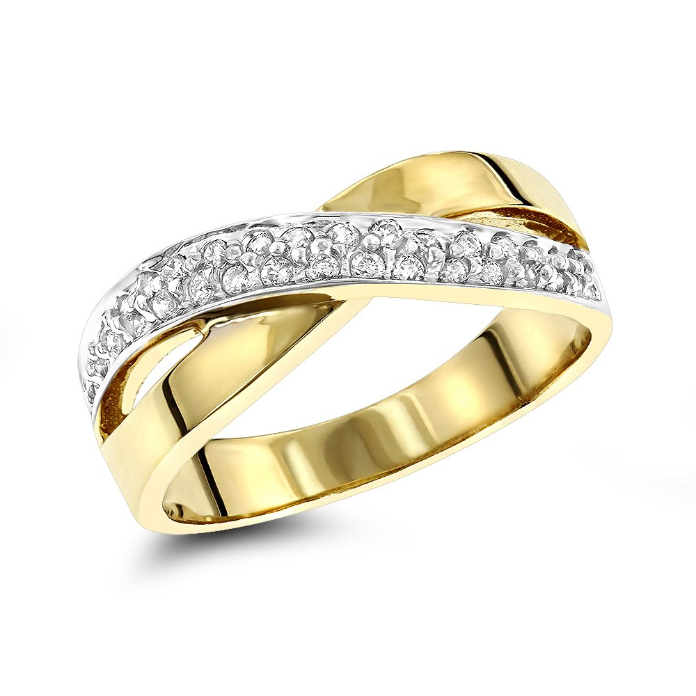 14K Womens Round Natural 0.3 Ctw Diamond Ring For Her (Yellow Gold Size 8.5)