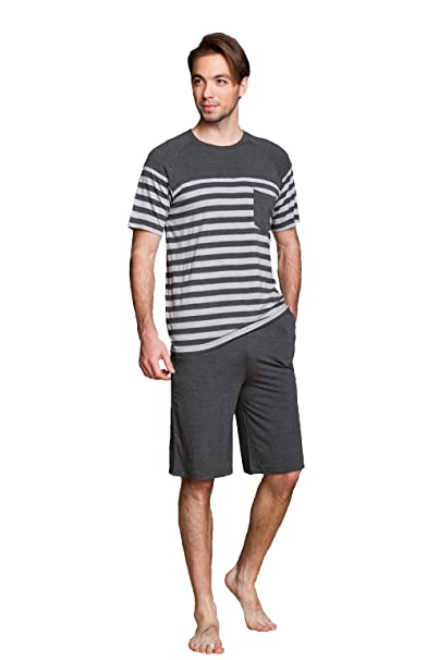 LEMONMOON Pijama Ropa de Dormir para Hombre Hombre Del Pijama Conjunto(Grey,S,