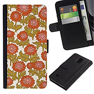 Paccase / Billetera de Cuero Caso del tirón Titular de la tarjeta Carcasa Funda para - Golden Brown White Orange Pink - Samsung Galaxy Note 4 SM-N910