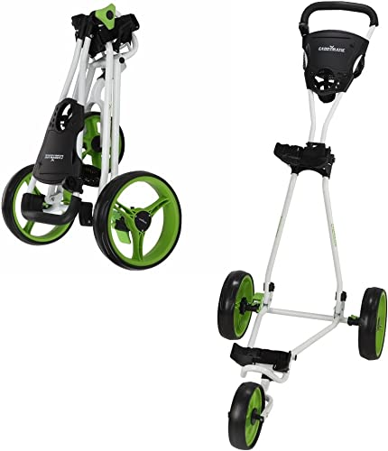 Caddymatic Golf Continental 3 Wheel Folding Golf Push Pull Cart White Green