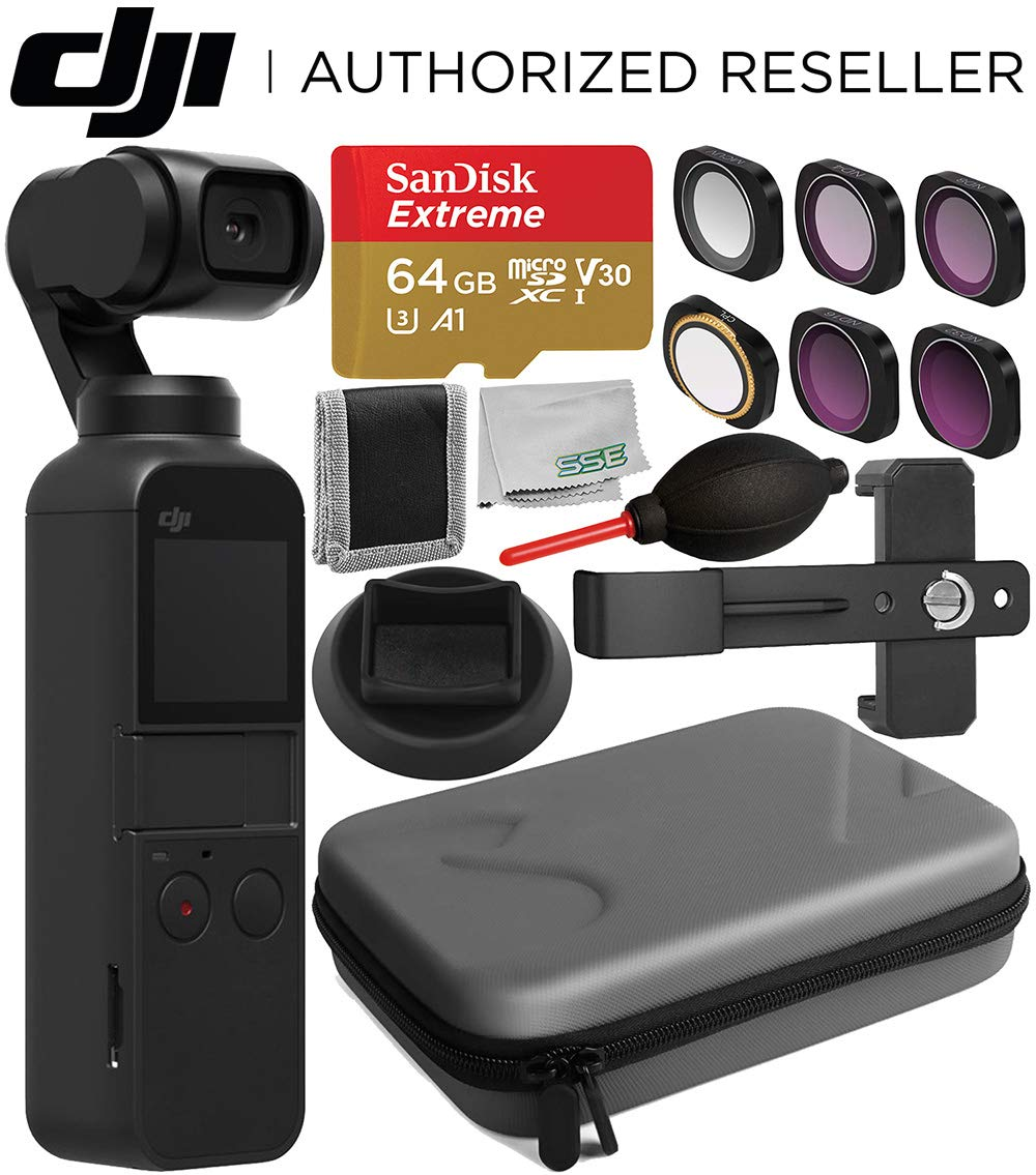 DJI Osmo Pocket Gimbal with Essential Accessory Bundle - Includes: SanDisk Extreme 64GB microSDXC Memory Card + Filter Set + Carrying Case + Phone Holder Bracket + Supporting Base Stand + More