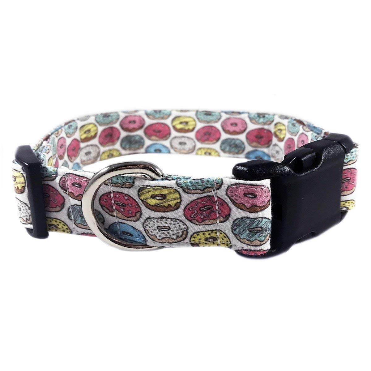 Pink Donut Dog or Cat Collar for Pets Size Medium 3/4'' Wide and 13-17'' Long by Oh My Paw'd