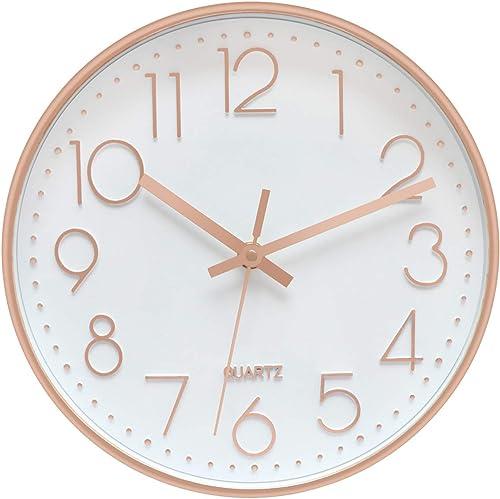 Foxtop Modern Wall Clock Silent Non-Ticking Decorative Battery Operated Quartz Clock