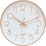 Foxtop Modern Wall Clock 12 Inch Non-Ticking Rose Gold Wall Clock Silent Battery Operated Round Quartz Clock for Living Room