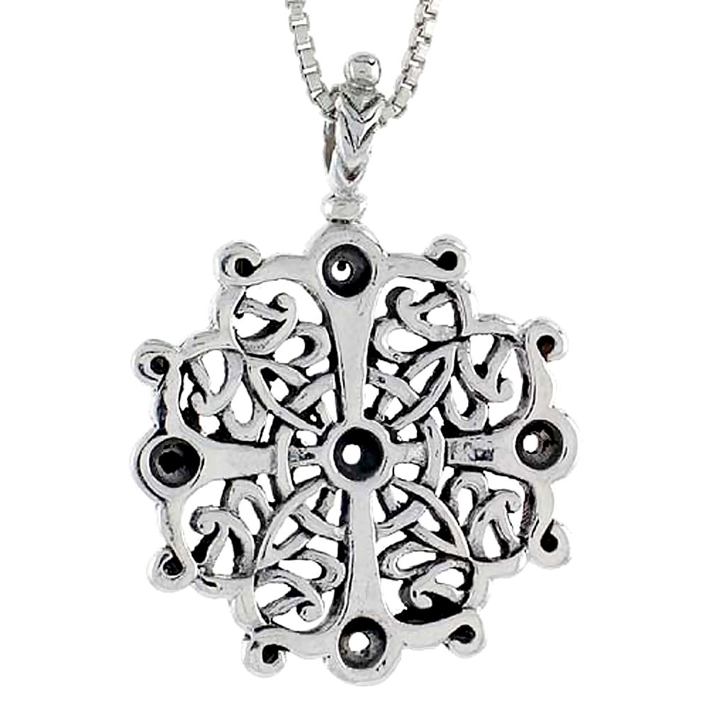 1 1//2 inch tall Sterling Silver Celtic Cross Pendant