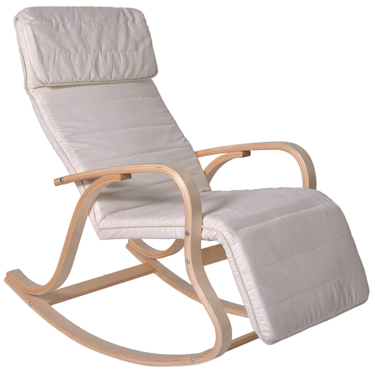 PEGANE Rocking-Chair Multipositions Alex II en Alcantara Cr/ème L65 x H91 x P101 cm