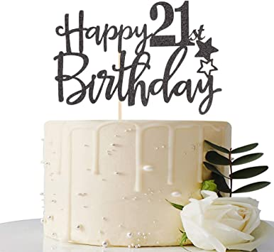 Pleasing Black Happy 21St Birthday Cake Topper Hello 21 Cheers To 21 Years Funny Birthday Cards Online Alyptdamsfinfo