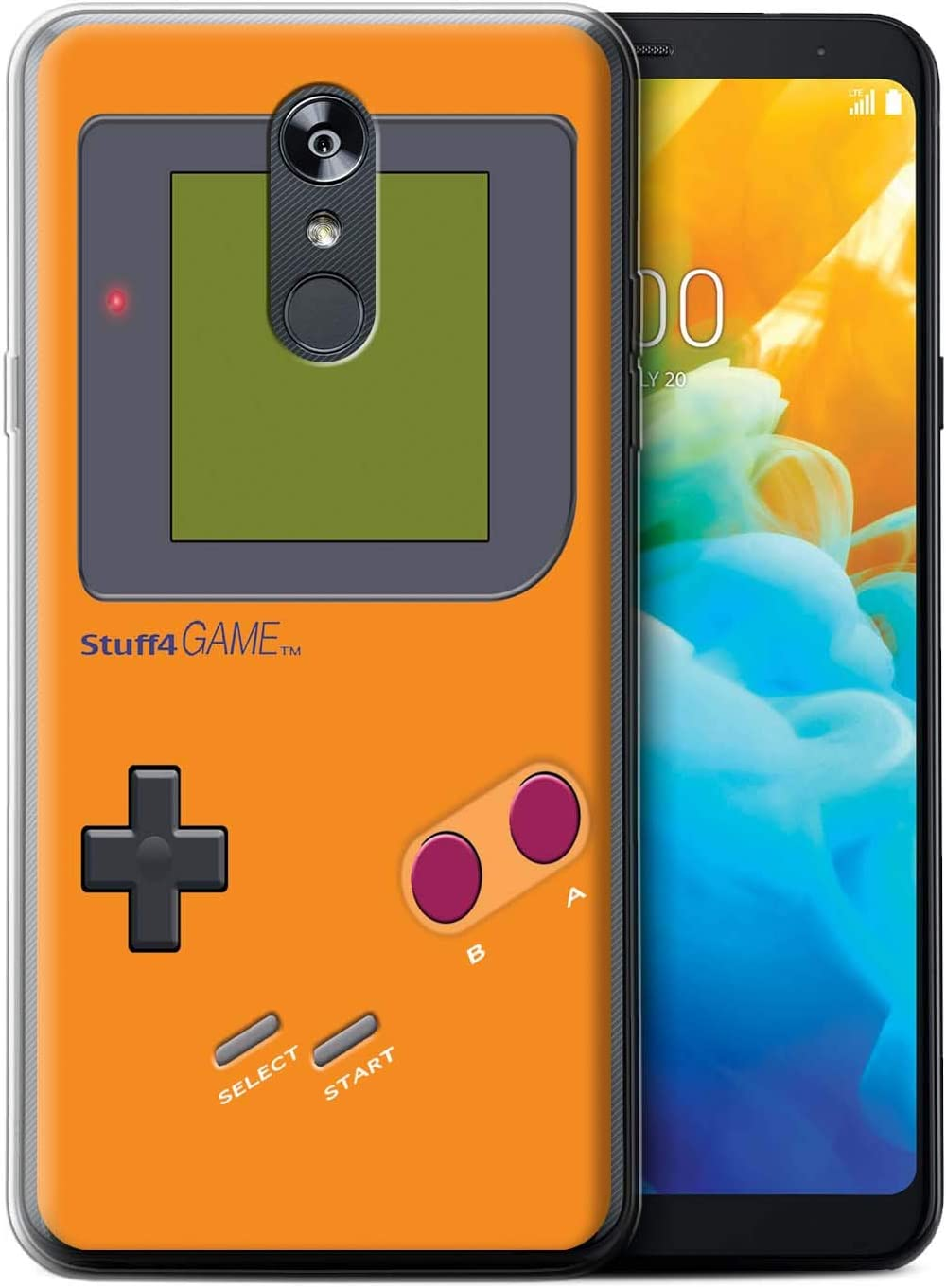 eSwish Gel TPU Phone Case/Cover for LG Stylo 4/4+/Q Stylo 4 / Orange Design/Video Gamer/Gameboy Collection