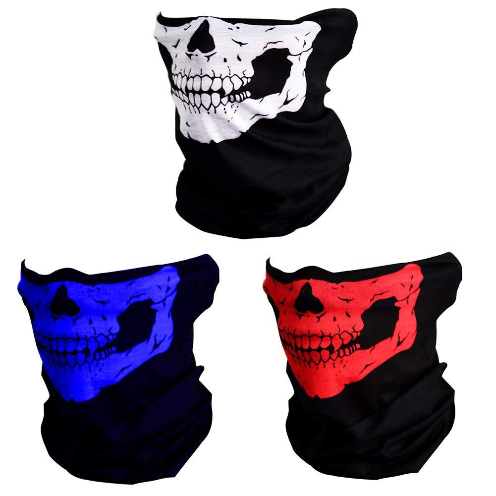 CIKIShield Seamless Skull Face Mask Bandana Motorcycle Face Masks Skeleton Face Shield (8pcs-white) VEUS-A-07