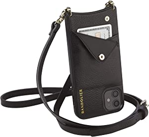 Bandolier Emma Crossbody Phone Case and Wallet - Black Leather with Gold Detail - for iPhone 12 Pro Max