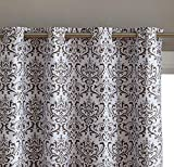 HLC.ME Damask Print 100% Full Blackout Curtains for Living Room, Bedroom, and Nursery | Noise Reducing, Room Darkening Grommet Privacy Curtains - Set of 2 (52' W x 84' L, Platinum White/Grey)