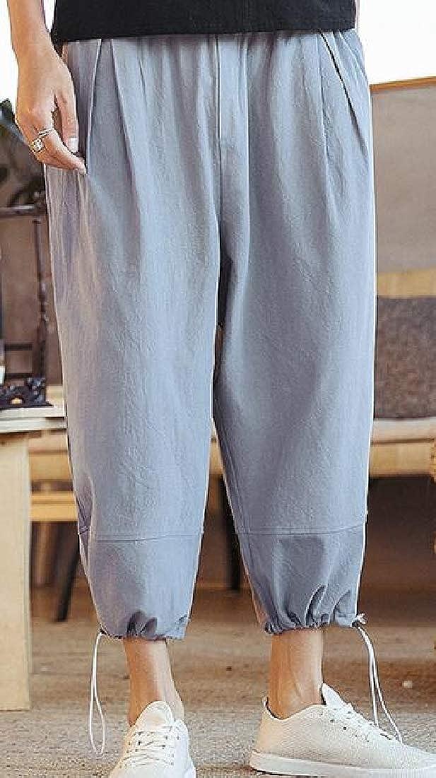 WSPLYSPJY Men Summer Loose Baggy Elastic Waist Linen Harem Capri Pants