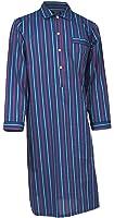 Lloyd Attree & Smith - Chemise de nuit homme - 100% coton - rayé bleu marine / bleu / rouge