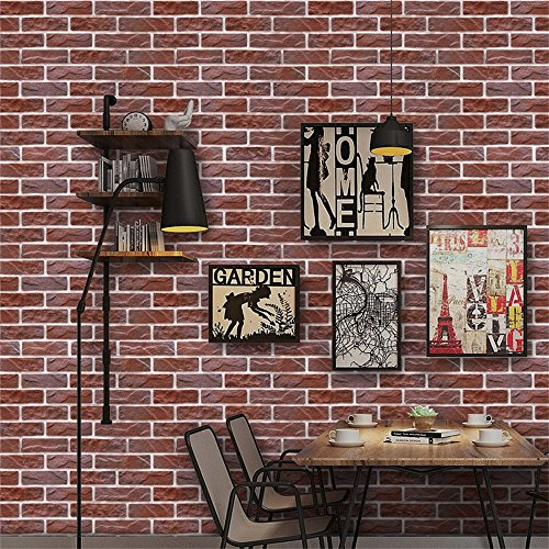 MSOO 3D Wall Paper Brick Stone Effect Self-Adhesive Room Decor (A)