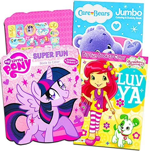 - Classic Coloring Books For Girls -- Set of 3 Books Featuring Care Bears, Strawberry Shortcake and My Little Pony with Stickers
