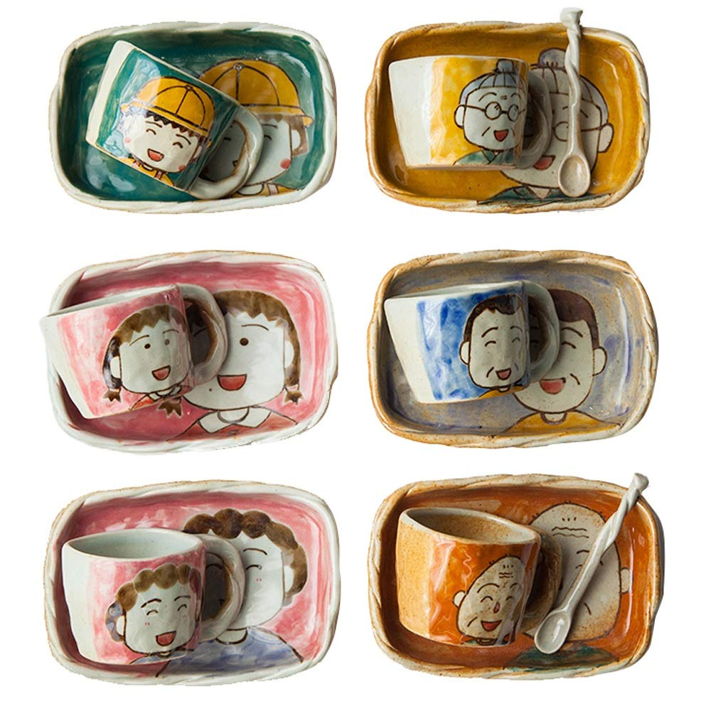 Yilian Canjutaozhuang Anime Cartoon Character Avatar Cutlery Set Ceramic Home Version 12 Piece Set Plate and Cup