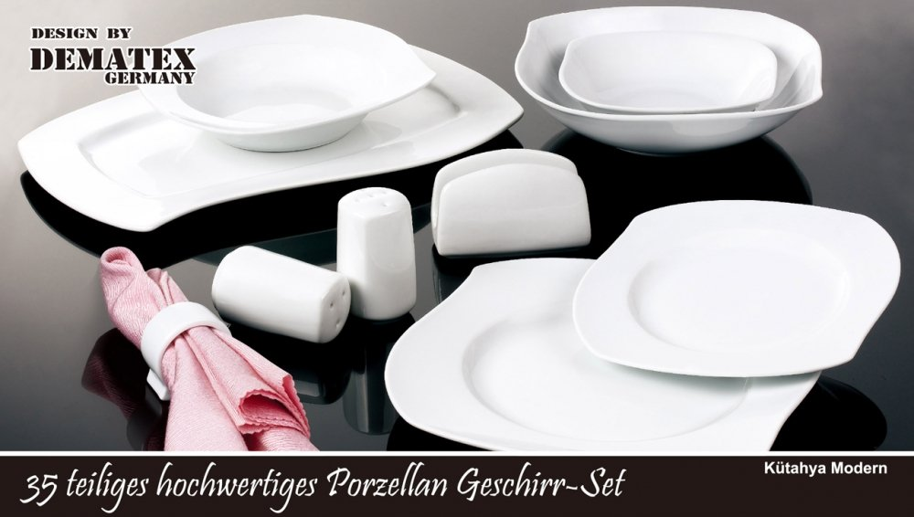 35 Teiliges Porzellan Geschirr Set-Modell: Kütahya Modern(rund ...