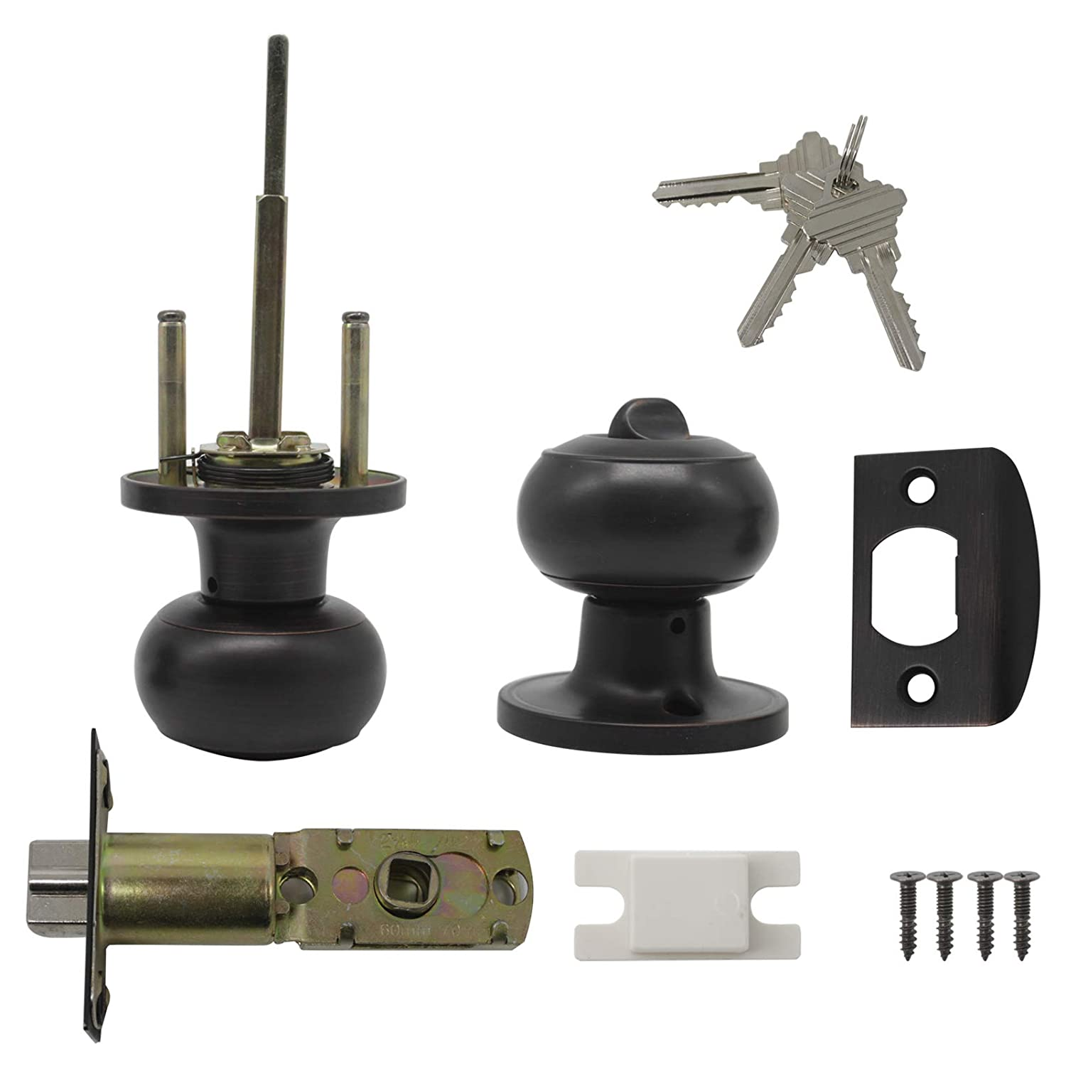 Probrico Stainless Steel Round Keyless Privacy Interior Door Lock For Bathroom Oil Rubbed Bronze Privacy Lockset Door Handle Knob Cove Style