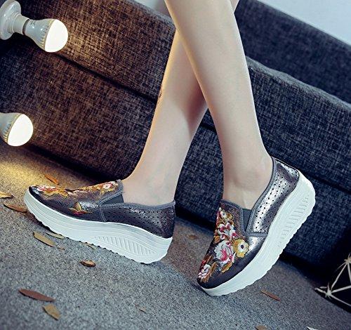 Avacostume Da Donna Con Ricamo Floreale Fori Traspiranti Scarpe Sneaker A Piattaforma Grigie