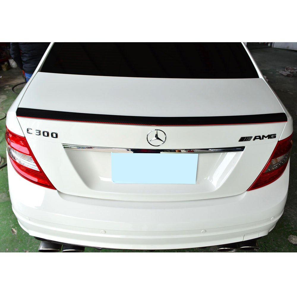 Trunk Spoiler Fits 2008-2014 Benz W204 C Class 2008 2009 2010 2011 2012 2013 AMG Style Unpainted ABS Added On Lip Wing Bodykits by IKON MOTORSPORTS