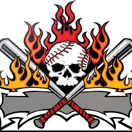 Rikki Knight 12 x 12 Softball Baseball Skull Tattoo Design Ceramic Art Tile