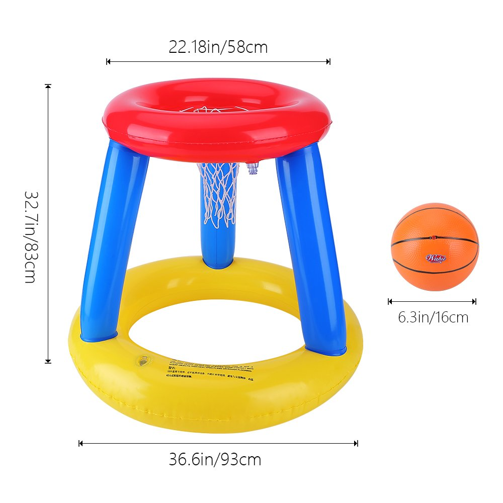 XZzhizi Pool Basketball Hoop,Inflatable Giant Floating Set Sport Toys Swimming Water Pool Beach Fun Games for Kids Adults, Include one Ball & Hand Pump