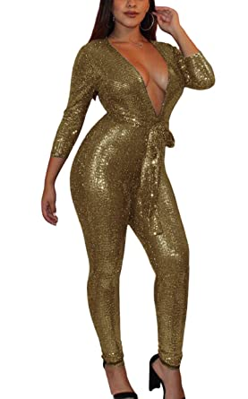 87eed1178a Bluewolfsea Women Ladies Glitter Bodycon Club Jumpsuit Long Sleeve Sexy  Deep V Neck Party Romper Small