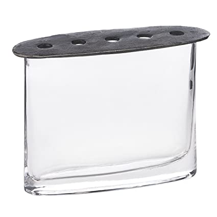 Amazon Skalny Clear Oval Glass Vase With Cast Iron Lid 8 X