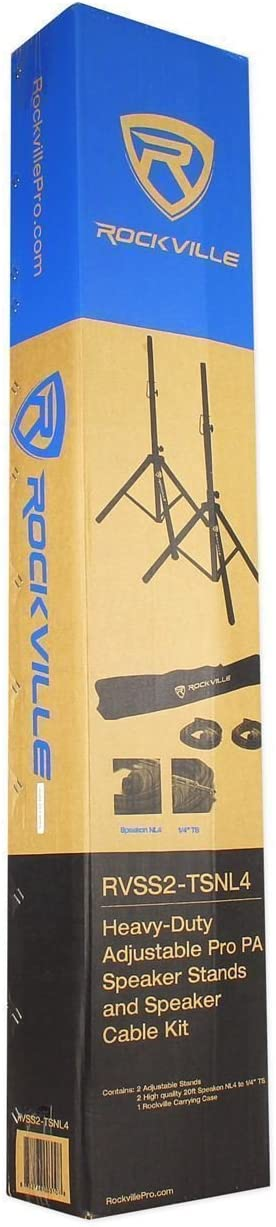 2 Rockville SPGN154 15 Passive 1600W ABS Plastic PA Speakers+Stands+Cables+Bags