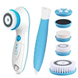 6 in 1 Waterproof Electric Facial & Body Cleansing Brush with 2 Speed Settings for Skin Care, Include Detachable Handle & 5 Brush Heads and Cute Cosmetic Bag (blue)