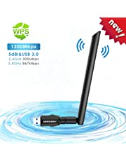 MingBin Adaptateur Clé WiFi, 1200Mbps USB WiFi Dongle sans Fil AC Dual Band (2.4G/300Mbps+5.8G/867Mbps) USB 3.0 Adapter Carte WiFi Antenne Détachable Clef WiFi pour Win 10/ /8/7/Vista Mac OS Linux
