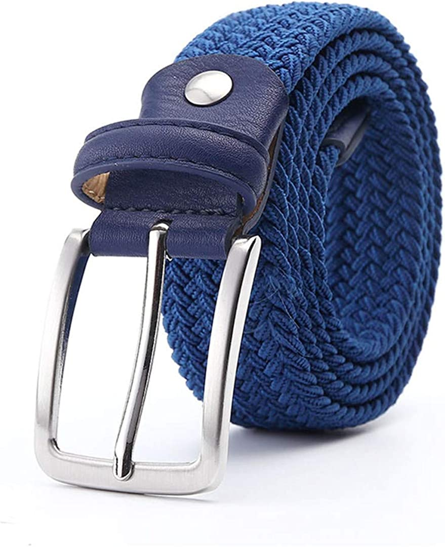 JUIHUGN Men Blue Elastic Stretch Waist Belt Canvas Stretch Braided Elastic Woven Leather Belt 1-3//8 Wide Hot Metal Stretch Belt for Men Navy White 110cm