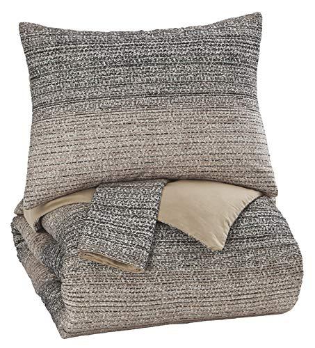 (Ashley Furniture Signature Design - Arturo King Duvet Cover Set - Includes Duvet & 2 Pillow Shams - Cotton - Natural/Charcoal)