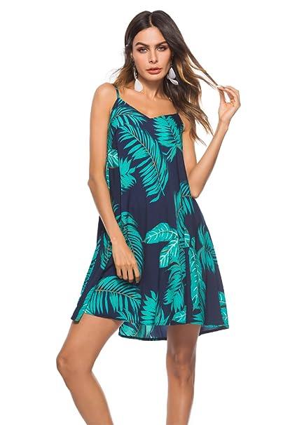 ab847effcb4 MAGICMK Women Casual V Neck Printed Summer Beach Short Spaghetti Straps  Mini Dress Sundresses at Amazon Women s Clothing store